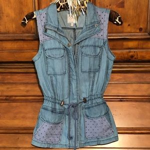 😍ALL TOPS 3 FOR $15. Candies chambray vest